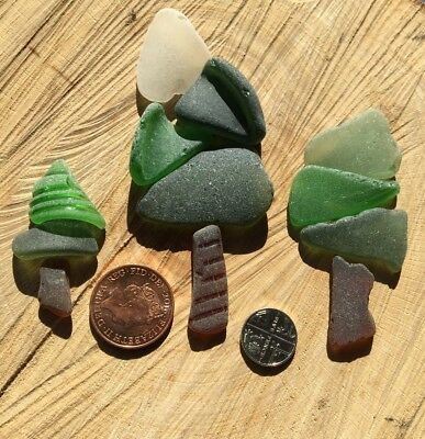 Vintage Irish Sea Glass ~ craft projects ~ Card ~ Framed ~ Trees Forest Woods
