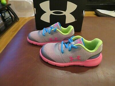 NWT Toddler Girls Gray, Pink & Blue Under Armour Surge Tennis Shoes, 5