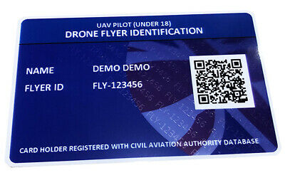 Drone ID Card - Under 18s - Drone Flyer Pilot ID - CAA UAV ID - Unique QR Coded