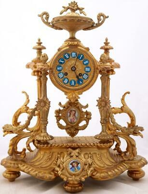 Antique Mantle Clock Beautiful Gilt Metal & Hand Painted Porcelain 8Day Striking