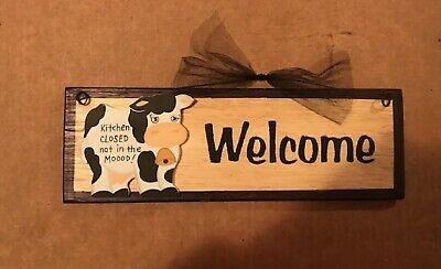 """WELCOME wooden COW KITCHEN CLOSED NOT MOOD home decor plaque Sign 12x4"""""""