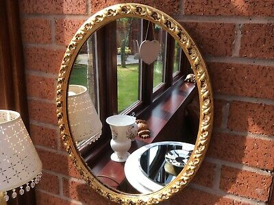 Vintage Ornate Scrolls Antique Distressed Gold Leaf Oval Wall  Mirror