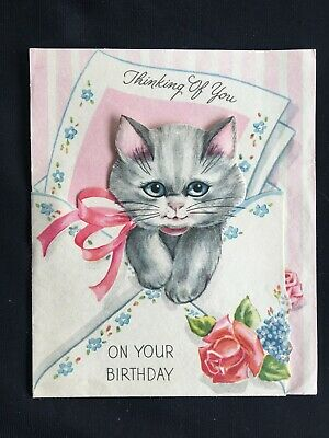 Vintage Collectable Greeting Card - c1960 - Cat & Roses - Thinking of You