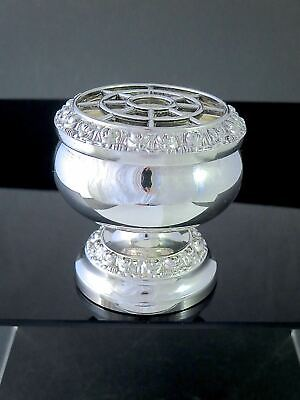 """Small Vintage ENGLISH IANTHE Silverplate ROSE BOWL W/FROG 3.25"""""""