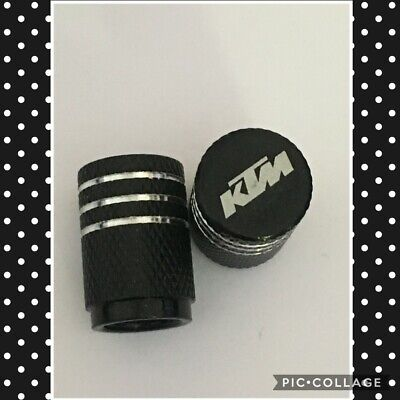 KTM wheel valves pair ktm black  engraved universal dust caps