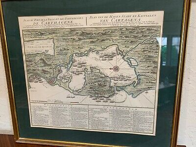 Map Cartagena Colombia Captain Wiliam Laws publisher Covins & Mortier engraving