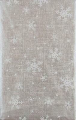 ASST SIZES Vinyl Christmas New Year's Tablecloth SILVER White SNOWFLAKES