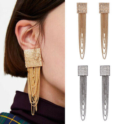 Women Long Metal Chain Tassel Drop Dangle Earrings Crystal Rhinestone Gold Tone