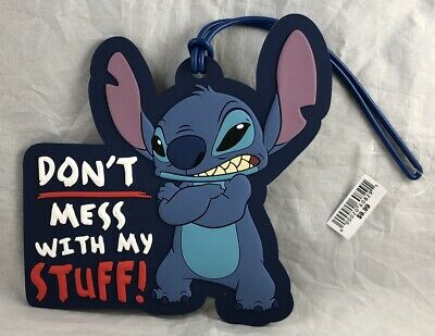 Disney Parks STITCH Don't Mess With My Stuff Luggage Tag Suitcase Travel PVC NEW