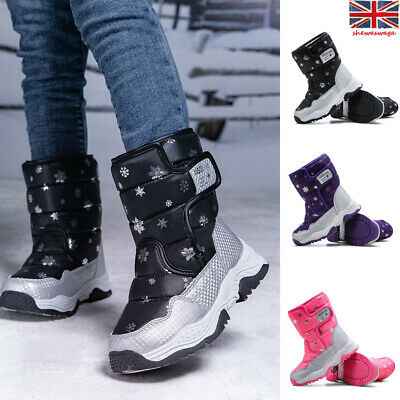Kids Boys Girls Warm Fur Lined Slip On Shoes Ankle Boots Winter Snow Shoes Hot