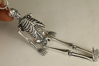 China Solid silver 925 Mc Queen activity skeleton personality Netsuke pendant