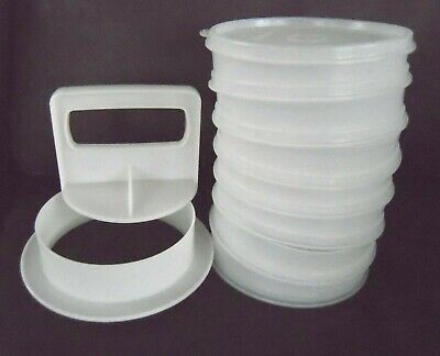 Vintage Tupperware Hamburger Maker Patty Press, 7 Freezer Containers & Lid
