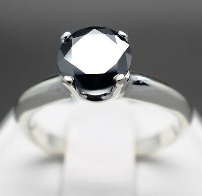 1.53cts 7.75mm Real Natural Black Diamond Engagement Size 7 Ring & $965 Value