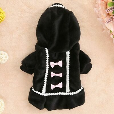 Pet Dog Winter Hoodie Coat Jacket Puppy Hooded Bowknot Fleece Sweater Clothes