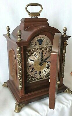 Warmink Mantel Clock Rare Anniversary Model Key Wind Moon Dial Double Bells
