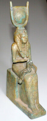 Huge-Egyptian Glazed Statue-Cleopatra Seated On Throne-Her Baby On Her Knees