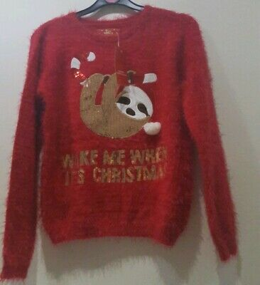 Primark Girls Sloth Christmas Jumper Top   Red Fluffy Sequin Xmas.