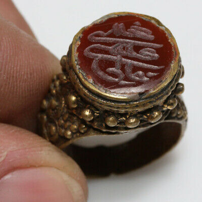 Intact Circa 1200 Ad Islamic Bronze Ring With Nice Stone & Islamic Descriptions
