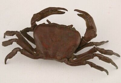 Unique China Red Copper Hand-Cast Crab Figurines Statue Gift Old Collection
