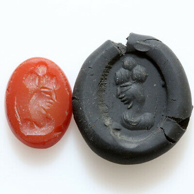 Indo Greek Carnelian Intaglio Seal Stone From A Ring Circa 200-100 Bc