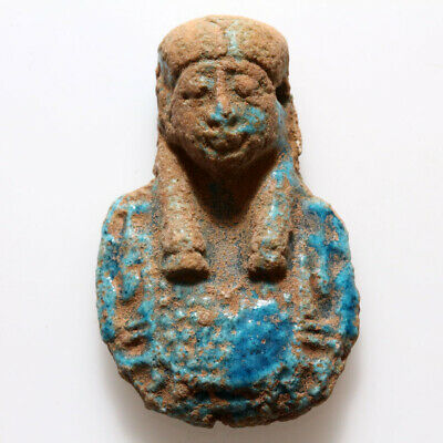 Circa 50 Bc Egyptian Cleopatra Faience Bust Colored Pendant - Intact