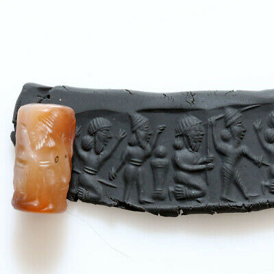 Circa 2500-200 Bc-Messopotamya Carnelian Cyclical Bead Seal - Scarce