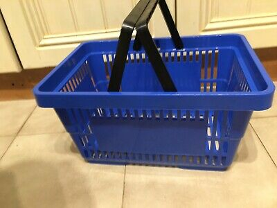 Blue Plastic Shopping Baskets with 2 Handles Stacking.  Box of 10. Free Delivery