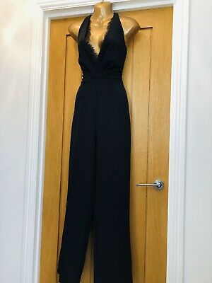 BN NEW Lipsy Black Lace Plunge Fitted Jumpsuit Playsuit Size 10 Party Xmas