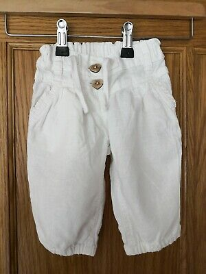 Baby Girls NEXT White LINEN Blend Holiday Crop TROUSERS  9-12 months
