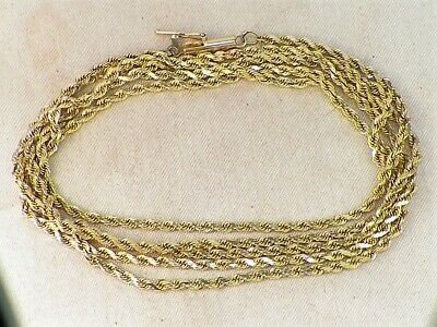 """14k Yellow Gold 585 Solid Rope Chain 30"""" Long Fine Necklace"""
