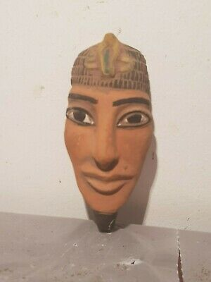 Rare Antique Ancient Egyptian pharaoh Akhenaten Mask worship 1God Sun1353–1336BC