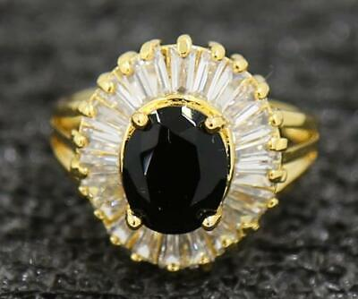 3.54ct Natural Black Diamond 14KT Solid Yellow Gold Attractive Ring Size 7.5#