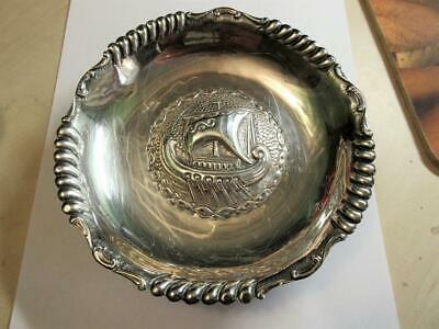 VINTAGE STERLING SILVER CELTIC, VIKING LONGBOAT DESIGN DISH, 130g by E. XEIPOE