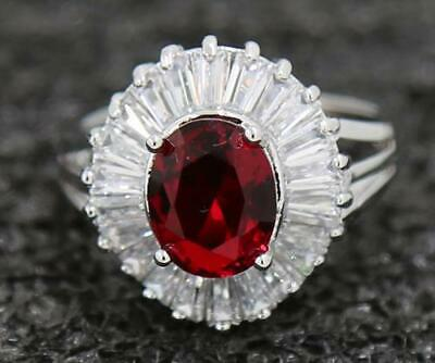 3.54ct Natural Ruby 14KT Solid White Gold Attractive Wedding Ring Size 8.5#