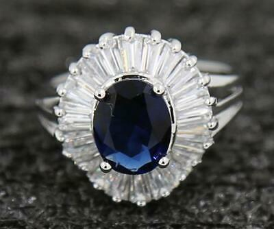 3.54ct Natural Sapphire 14KT Solid White Gold Attractive Wedding Ring Size 9#