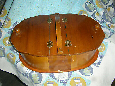 Vintage Antique Double Hinged Lid With Handle Oval Bentwood Wooden Sewing Box