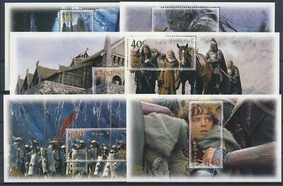 [G392431] New Zealand 2002 Lord of the Rings set of 6 good sheets VF MNH