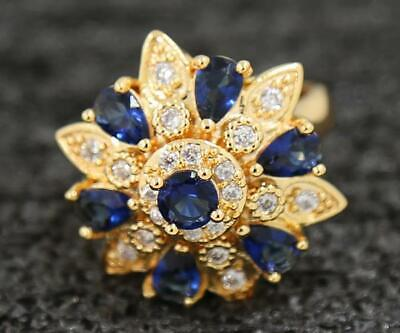 Fine 3.42ct Natural Sapphire 14KT Solid Yellow Gold Jewelry Stores Ring Size 7#