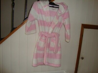 Girls F&F Dressing Gown Pink/White For Age 4/5 Years