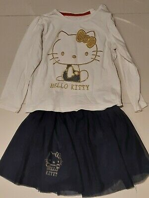 Pretty girls Hello Kitty skirt and top outfit, age 3-4 years from M&S