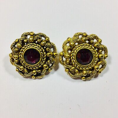 vintage gold strass clip on earrings 1980s plastic