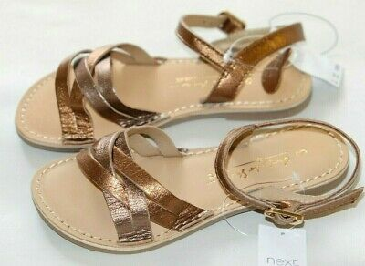 Next Bronze real Leather Wooven girls sandals size 9/26.5  RRP £20.00