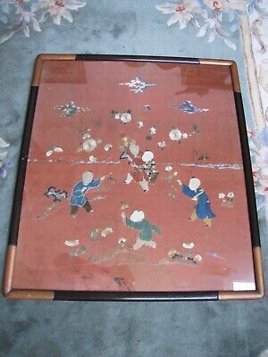 Antique 18 Century Chinese Silk Hand Embroidered Textile on Framed.
