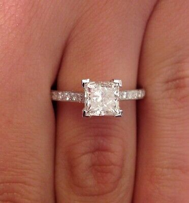 1.50 Carat F SI1 Princess Cut Solitaire Diamond Engagement Ring 14K White Gold