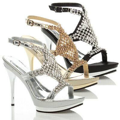Womens Ladies High Heel Wedding Diamante Platform Bridal Prom Sandals Size
