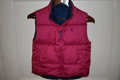 POLO RALPH LAUREN Girls Reversible Down Puffer Vest Pink Navy READ MEASUREMENTS