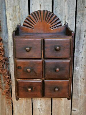 Antique Primitive Wood Wall Spice Cabinet Apothecary Pantry