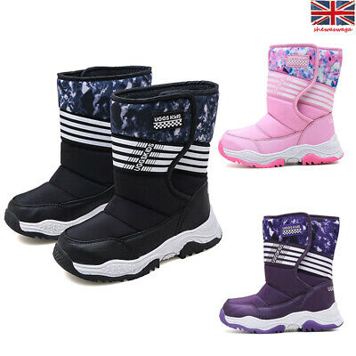 Kids Boys Girls Ankle Snow Boots Winter Warm Fur Lined Children  Grip Sole Shoes