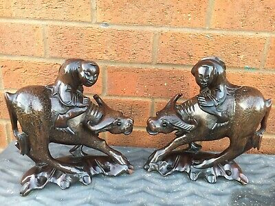 Fine Pair Of Antique Chinese Hardwood Carved Buffalo Figures Silver Inlay Child
