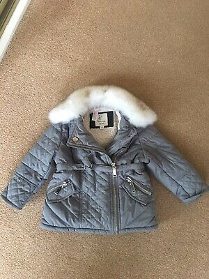 River Island Baby Girls Coat Age 9-12 12-18 Months Quilted Fur Collar NWOT Rare